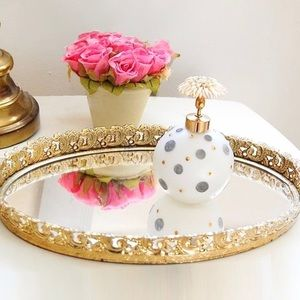 Vintage Small Oval Mirror Vanity Tray